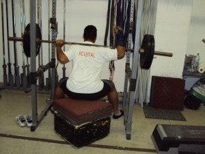 Wide stance box squats with tendonitis on the right arm