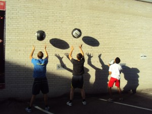Wall ball in the shadow