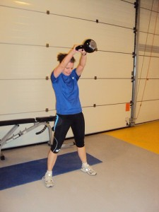 Carol doing a Kettlebell Swing