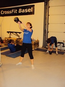 Katie doing a kettlebell swing
