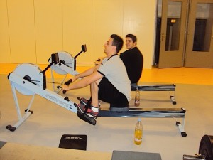 Powerlifters on the rower