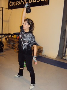 Sibylle doing a Kettlebell snatch