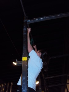 Tanja doing a pull up