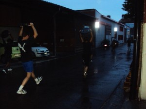 walking lunges outside in the dark during really bad weather