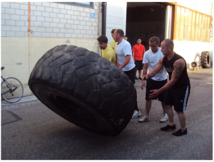 Tire flipping warm-up